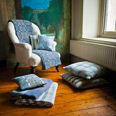 Aqua Bluestone range, from £45,  all woven using traditional methods at Melin Tregwynt