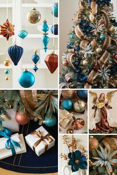 Create a laidback coastal theme with gorgeous holiday trimmings in navy, copper, and turquoise.