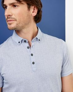 Spotted cotton polo shirt - Light Blue | Tops & T-shirts | Ted Baker