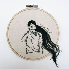 Artist and fashion model Sheena Liam creates beautiful embroidery art with a three-dimensional touch.