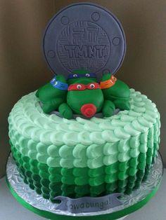 Teenage Mutant Ninja Turtle Baby Shower Cake With Ombre Buttercream