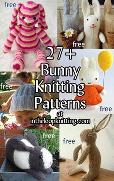 Knitting patterns for bunny rabbit toys, hats and more. Most are free patterns