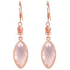 Orchid Jewelry Rose Gold Plated 925 Silver 12 4/5 Carat Bezel Set Rose Quartz Dangle Earrings