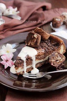 chocolate and white chocolate truffle cheesecake.