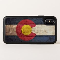 Colorado State Flag on Old Wood Grain OtterBox Symmetry iPhone X Case - wood gifts ideas diy cyo natural