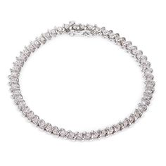 Justice Jewelry Collection White Gold & Diamond Illusion Tennis Bracelet #justicejewelers