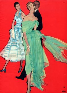 Fashion illustration by René Gruau, 1951, Christian Dior Evening Gown.