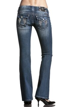 Womens Miss Me Jeans Three Tone Embellished Angel Wing Boot Cut Jeans Miss Me Jeans, Jeans Brands, Denim Fashion, Fashion Brands, Topshop, My Style, Shopping, Cut Jeans