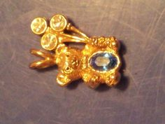 ~FREE SHIP'N NOW~September Sapphire Gold Plated Belly Bear Pendant*FREE SHIP'N*