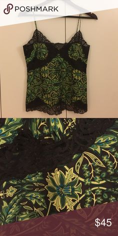 Banana Republic silk and lace top Silk and lace Banana Republic top in a gorgeous green pattern. Banana Republic Tops Blouses