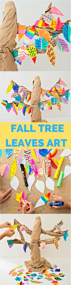 Fall Tree Craft and Painted Leaves Art for Kids. Beautiful fall nature art project. AD
