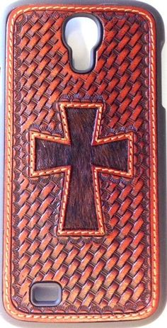 (WFAPH35) Western Basketweave Snap Case with Hair-On Cross for Samsung Galaxy S4