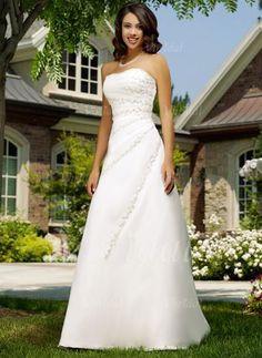 Bröllopsklänningar - $201.85 - A-linjeformat Axelbandslös Hjärtformad Chapel släp Organzapåse Bröllopsklänning med Rufsar Pärlbrodering Applikationer Spetsar (00205000208)