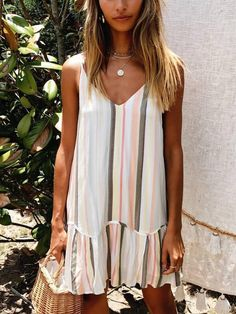 Fashion Casual Striped Print Strap Mini Dress - My Style - Summer Dress Outfits Style Désinvolte Chic, Style Casual, Casual Chic, Smart Casual, Trendy Style, Boho Style, Boho Chic, Modest Dresses, Simple Dresses