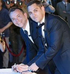 Vincent Autin and Bruno Boileau, the first same-sex married couple in France, at their nuptials in Montpellier
