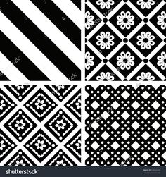 Black And White Seamless Ornamental Patterns Ilustración vectorial en stock 134522420 : Shutterstock