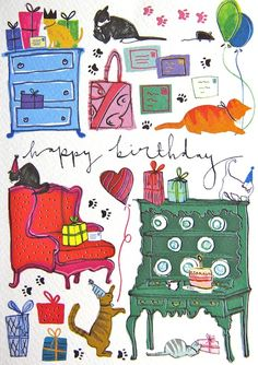 Cats with Gifts Birthday Card | Gifts for Cat Lovers