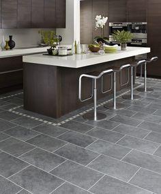 Design Ideas, : Marvellous Kitchen Design Ideas With Dark Charcoal Karndean Floor Tiles Along With Chrome Single Leg Barstool Dining Chair A...