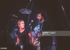 Singer Roger Daltrey and guitarist Pete Townshend of the rock and roll band 'The Who' perform onstage in circa 1982
