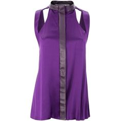 Funlayo Deri - Dasha Top ($495) ❤ liked on Polyvore featuring tops, purple silk top, cut out top, cutout tops, silk top and purple top