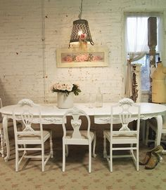 Painted Cottage Chic Shabby White French Dining by paintedcottages, $595.00