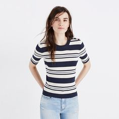 Madewell+-+Ribbed+Sweater+Top+in+Stripe