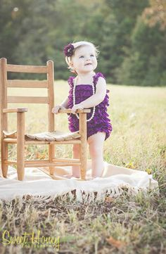 Baby girl first birthday outfitLace baby romper by KadeesKloset #romper #laceromper #pettilace #babygirlfirstbirthday #purpleromper