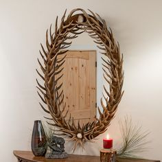 Oval Mule Deer Antler Fork Mirror Is An Excellent Addition To Your Entry  Way. #