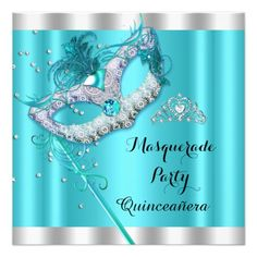 Shop Teal Blue Masquerade Quinceanera Party Mask 4 Invitation created by Zizzago. Masquerade Party Invitations, Bachelorette Party Invitations, Quinceanera Invitations, Quinceanera Party, Baby Shower Invitations, Birthday Invitations, Sweet 16 Masquerade, Corporate Invitation, Teal And Pink