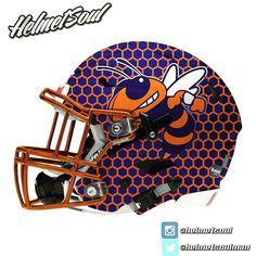 Blue & orange honeycomb shell for this Orange County High School (VA) Fighting Hornets concept. #helmet #espn #footballhelmet #chrome #nationsbestfootball #uniswag #design #nike #ncaa #adidas #underarmour #riddell #schutt #riddell new designs added! #helmet #collegefootball #design #nfl #football #footballhelmet