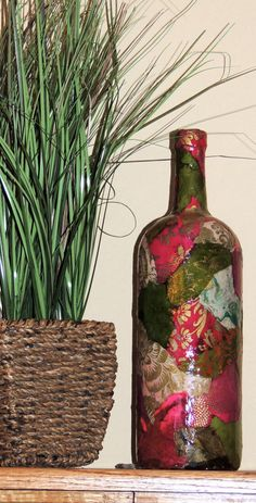 Lokta Paper Decoupage on Large Glass Wine bottle! by cutelittlecanvases, $25.00 #vase #winebottle #bottleart