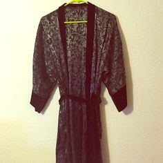 Silky Robe Fits small-large. Shiny silky silver / black / grey metallic design. Brand new, tags removed, several stitch imperfections here and there. Worn once to try out. Intimates & Sleepwear Robes