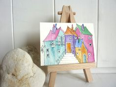 Collection of colourful houses an original by shelikesthis on Etsy, £7.50