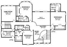 European Floor Plan - Upper Floor Plan Plan #952-272