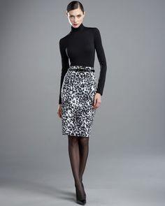 Nuda Turtleneck & Lynx-Print Faille Skirt by St. John Collection at Neiman Marcus.