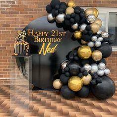 Birthday Balloon Decorations, Diy Wedding Decorations, Birthday Balloons, Black And Gold Party Decorations, Black Gold Party, Black And Gold Balloons, White Balloons, Marble Balloons, Latex Balloons