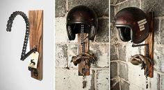 Handmade Motorcycle Helmet Racks by Threepence 1