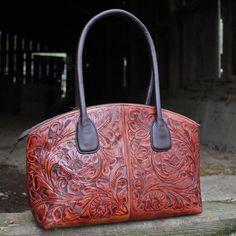 A Cowgirl's Promise LLC Store - Juan Antonio Saddle Brown Tooled Leather Satchel Handbag Purse, $525.00 (http://www.acowgirlspromise.com/juan-antonio-saddle-brown-tooled-leather-satchel-handbag-purse/)