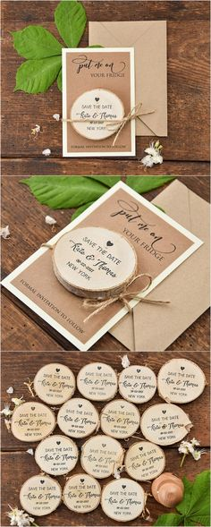 Rustic wooden save the dates #rusticwedding #countrywedding