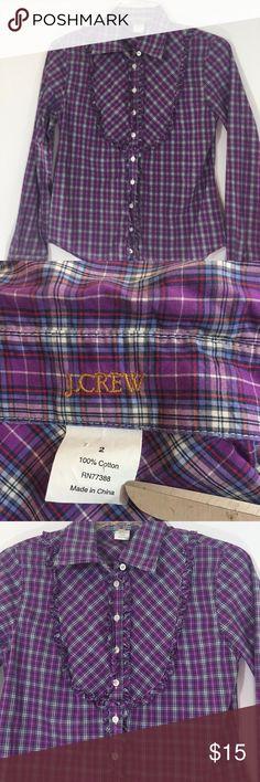 "J.Crew Purple Plaid Peasant Ruffle Button Front J.Crew  Purple Plaid Peasant Ruffle Button Front Long Sleeve Top 2 DETAILS: 22"" length 17"" underarm to underarm (flat) 23.5"" sleeve J. Crew Tops Button Down Shirts"