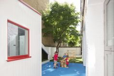 Nicholas Kirk Architects embeds 'niches, nooks and crannies' into Bermondsey nursery Nook And Cranny, South London, Nursery, Community, Windows, Building, Baby Room, Window, Buildings