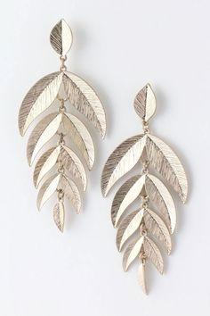 Golden Folio Earrings on Emma Stine Limited VIP $31