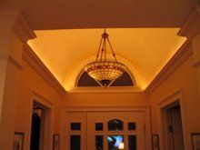 Installing crown molding lighting greatly enhances a homes decor. Rope lighting in combo with crown molding provides accent lighting and aesthetic beauty. Foyer Lighting, Cool Lighting, Lighting Ideas, Accent Lighting, Crown Molding Lights, Crown Moldings, Barrel Vault Ceiling, Porch Posts, Building A Shed