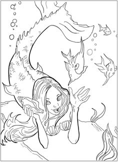 Welcome to Dover Publications Coloring Book--Mermaids Mermaid Coloring Pages, Cute Coloring Pages, Printable Coloring Pages, Adult Coloring Pages, Coloring Pages For Kids, Coloring Sheets, Coloring Books, Free Coloring, Fantasy Mermaids