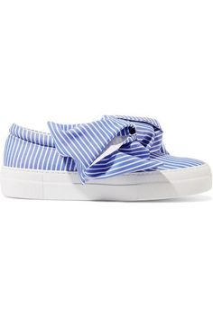 Joshua Sanders | Knotted striped cotton-poplin slip-on sneakers | NET-A-PORTER.COM #ReflectingFashion #Robinality #summershoestyle