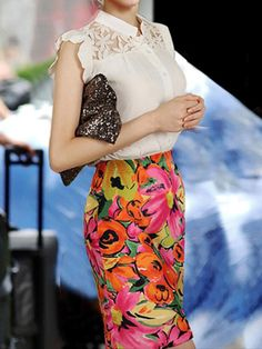 White Mao Collar Lace Blouse and Floral Pencil Skirt | Choies