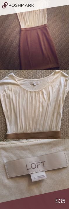 """Ann Taylor LOFT sheath career dress NWOT This dress has a cream blouse top and a camel colored pencil skirt bottom. It's a beautiful dress. I really wish it fit me. I'm 5'6"""" and the skirt hits just below my knees. LOFT Dresses"""
