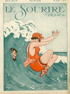 Illustration by Savy (Montassier) for Le Sourire. Beach Illustration, Magazine Illustration, Graphic Illustration, Vintage Advertisements, Vintage Ads, Vintage Prints, Clipart Vintage, Poster Vintage, Vintage Travel Posters