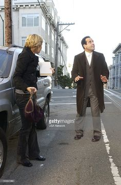 Monk and the Big Reward' Episode 13 -- Pictured: (l-r) Traylor Howard as Natalie Teeger, Tony Shalhoub as Adrian Monk -- Natalie Teeger, Traylor Howard, Monk Tv Show, Adrian Monk, Tony Shalhoub, Here's The Thing, Attention, Season 4, Psych