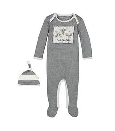 Bee Coverall & Hat Set: Color - Heather Grey